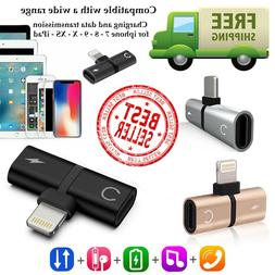 2 in 1 Dual Lightning Headphone Adapter Charger Cable iPhone