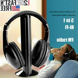 New 5 in 1 Headset Wireless Headphones Cordless RF Mic for P