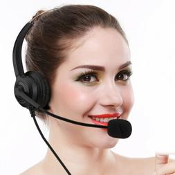USB Call Center Headset w/Mic Noise Cancelling Computer Tele